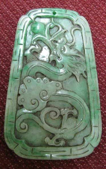 Magnificent Chinese Apple Green Jade Dragon & Phoenix Pendant, Qing Dynasty