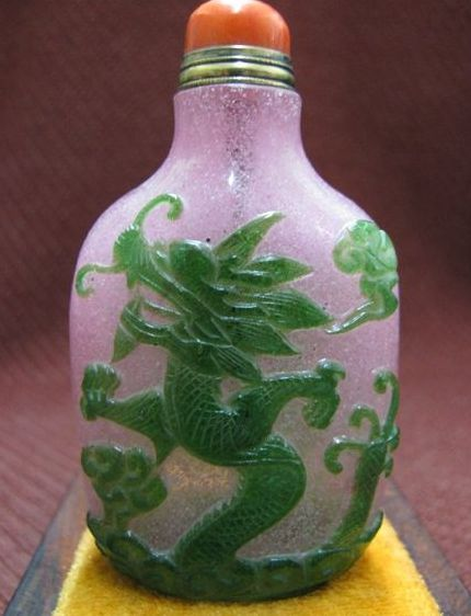 Chinese Pink Peking Glass, Green Dragon & Phoenix, Qing