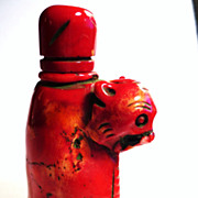 Superb Chinese Coral Tiger Snuff Bottle, Ming or Early Qing