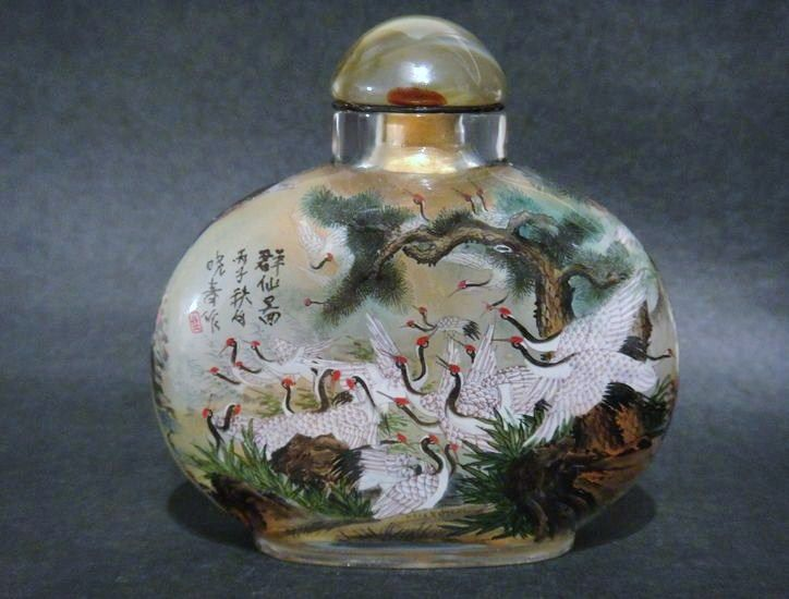 Chinese Large Snuff Bottle, Cranes, Signed, #2