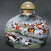 SOLD Chinese Large Snuff Bottle, Horses, Signed, #4
