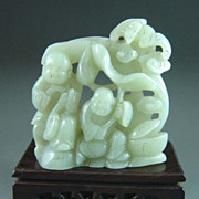 Chinese Jade Good Fortune Kids With Bats, Lingzhi, Lotus, Clouds