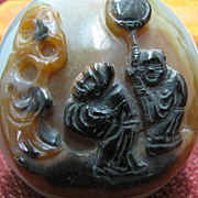 Chinese Carved Large Agate Snuff Bottle, Traditional Style