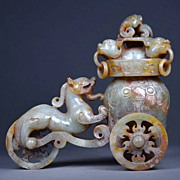 Chinese Jade Dragon Chariot, Han Dynasty 汉代玉器