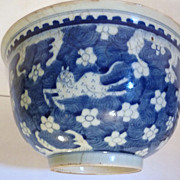 Chinese Blue & White Bowl, 18th Century, Six Spotted Deer