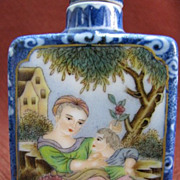 Chinese Porcelain Snuff Bottle, Mother & Child, Signed, Qing Dynasty