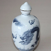 Chinese Dragon Snuff Bottle, Porcelain Qing Dynasty, Signed