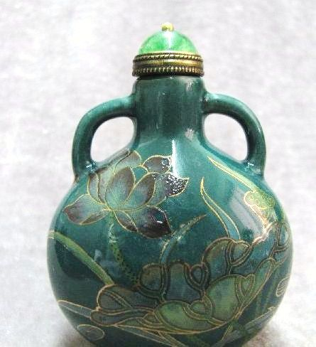 Chinese Porcelain Snuff Bottle, Lotus Blossoms & Dragonfly, Signed