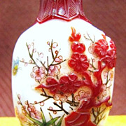 Chinese Peking Glass Snuff Bottle, Plum Blossoms, Signed
