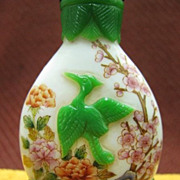 Chinese Peking Glass Snuff Bottle, Crane & Lotus, Signed