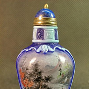 Chinese Peking Glass Snuff Bottle, Signed Yue Ming
