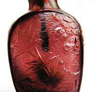 Chinese Carved Peking Glass Snuff Bottle, Lake Scene & Trees