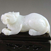 Chinese White Jade Dragon Tiger, Qing Dynasty
