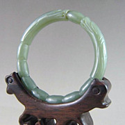 Chinese Jade Bracelet, Double Dragons With 8 Pearls of Wisdom