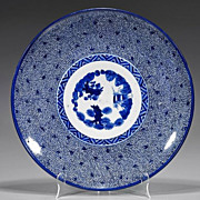 Japanese Arita Blue & White Porcelain Charger, Three Friends of Winter