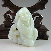 Chinese Jade Good Fortune Kid With Lingzhi & Lotus