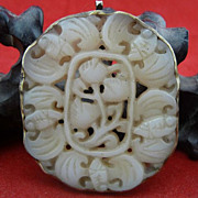 Chinese White Jade Five Bat & Lotus Pendant, Qing Dynasty