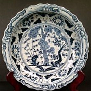 Chinese Blue & White Charger, Three Friends In Winter, Early Qing Dynasty
