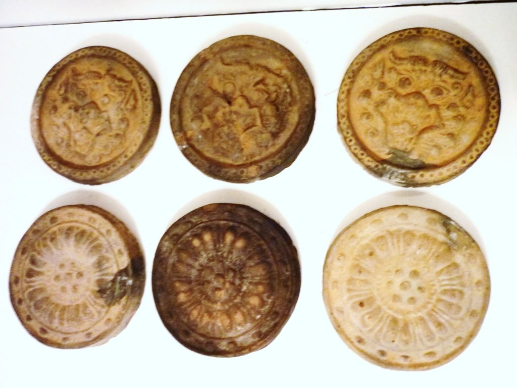 Six Chinese Roof Tiles, Dragon & Lotus, Han Dynasty