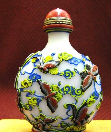 Chinese Carved Peking Glass Snuff Bottle, Infinite Happiness, Signed