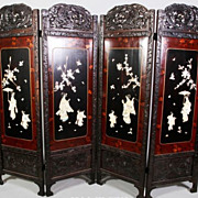 Antique Japanese Floor Screen, Inlaid Mother of Pearl, Meiji 1880's