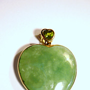 SOLD Chinese Apple Green Jade Heart, 14kt Gold Frame, Peridot Bale