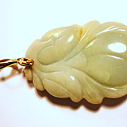 SOLD Chinese Carved Jade Peach Pendant, 14kt Gold Bale