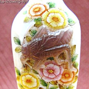 Chinese Peking Glass Snuff Bottle, Birds & Cricket, Signed