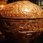 Chinese Carved Jade Bowl & Cover, Han Dynasty With Spirit Faces