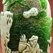 Chinese Peking Glass Snuff Bottle, The Honorable Professions