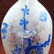 Chinese Peking Glass Snuff Bottle, Bats, Butterflies, Lotus & Plum