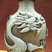 Chinese Peking Glass Snuff Bottle, Double Dragon & Auspicious Clouds