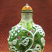 Chinese Peking Glass Snuff Bottle, Silkworms, Signed