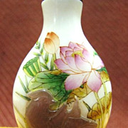 Chinese Peking Glass Snuff Bottle, Lotus & Birds, Signed
