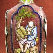 Chinese Peking Glass Snuff Bottle, Immortals Zhongli Quan & Lan Caihe, Signed