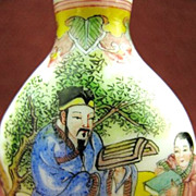 Chinese Peking Glass Snuff Bottle, Father & Son, Teacher & Student, Signed