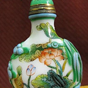 Chinese Peking Glass Snuff Bottle, Boy, Frog & Lotus, Signed