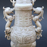 Chinese White Jade Han Dynasty Dragon Vase, Spirit Faces