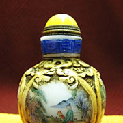 Chinese Peking Glass Snuff Bottle, A Scholars Day, Signed