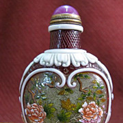 Chinese Peking Glass Snuff Bottle, Pink Blossoms, Signed