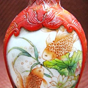 Chinese Peking Glass Snuff Bottle, Double Goldfish, Signed