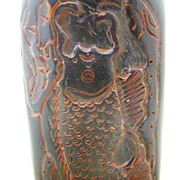 Chinese Carved Ox Horn Snuff Bottle, Dragon's Gate, Qing Dynasty