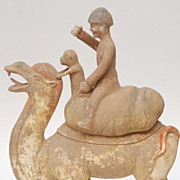 Chinese Tang Dynasty Camel With Merchant & Monkey