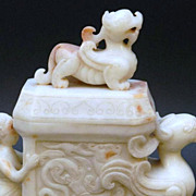 Chinese White Jade Dragon Jar, Han Dynasty, Demi-God & Falcon