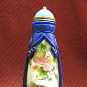 Chinese Peking Glass Snuff Bottle, Mandarin Ducks & Lotus, Signed