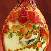 Chinese Peking Glass Snuff Bottle, Birds & Oranges, Signed