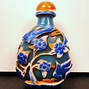 Chinese Peking Glass Snuff Bottle, Birds & Plum Blossoms