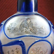 Chinese Peking Glass Snuff Bottle, Honorable Professions, Signed