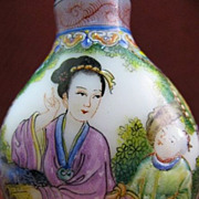 Chinese Peking Glass Snuff Bottle, Mothers & Children, Signed