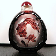 SOLD Chinese Peking Glass Snuff Bottle, Goldfish & Lotus